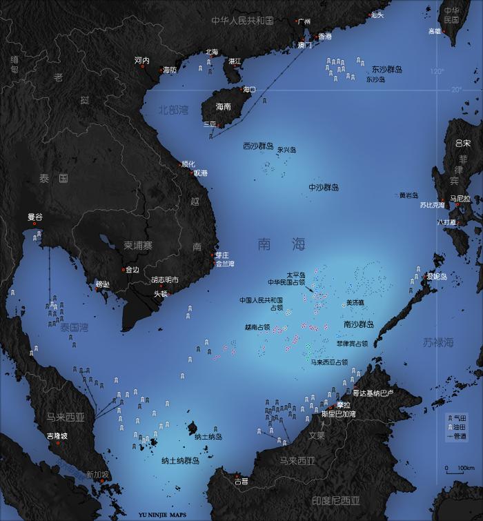 南海石油分布图(黑点为石油,白点为天然气)